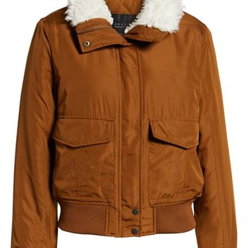 Sanctuary Aviator Faux Fur Collar Flight Jacket | Nordstrom