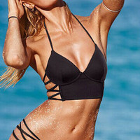 Black Bandage Halter Hot Sale Charming Fitness Swimsuits