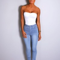 Socotra Blue High Waisted Skinny Jeans | Pink Boutique