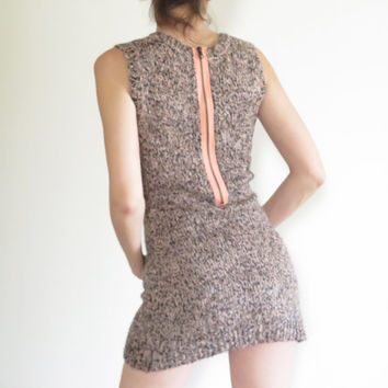 Vintage Dress , Silence and Noise , Sweater Dress, Peach and Black , Rear Zip , 1990s , 90 Dress , Mini Dress , S , 6 , XS