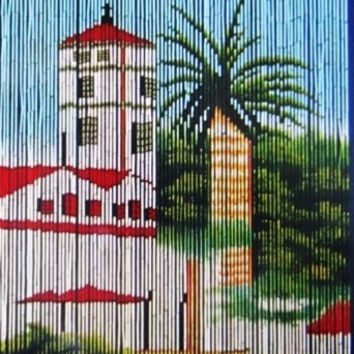 Bamboo door curtain with lighthouse scene
