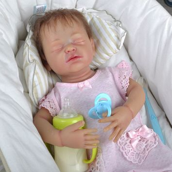IVITA 22inch/4.6kg Girl Eyes Closed Root Hair Painted With Movable Skeleton Silicone Reborn Dolls Baby Born Full Body Alive