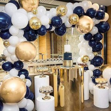 Blue and Gold Balloons 50 pcs 12 inch Navy Blue Balloons White Balloons Matte Balloons and Gold Confetti Balloons Gold Chrome Balloons for Royal Baby Shower, The Little Prince, Navy Party