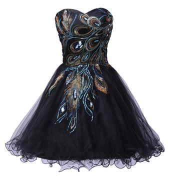 Sexy Tulle Ball Gown Embroidery Peacock Cocktail Dress Black White Party Gown Short Cocktail Dresses Prom Dress