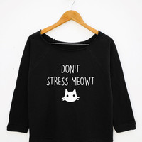 Meow Shirt Cute Cat Shirt Teen Fashion Graphic Tumblr Shirt Wide Neck Sweatshirt Women Sweatshirt Off Shoulder Women Long Sleeve Sweatshirt