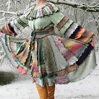Woodland Pixie Sweater Coat, OOAK Upcycled Sweater Coat, Womens Sweater Coat, 100% Han