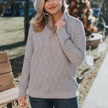 Quilted Pullover with Snap Neck, Heather Grey