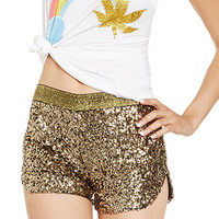 Golden Sequined Split Side Shorts