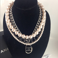 Pink Pearl And Silver Necklace W Chanel Charm (Handmade)