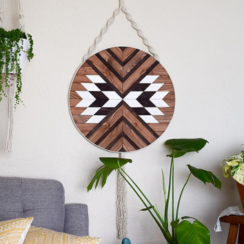 Wood Wall Art - Macrame Wall Hanging - Boho Wood Art - Round Wooden Wall Art - Modern Wood Art - Round Macrame - Fiber Art - Bohemian Decor