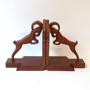 Vintage rare art deco mahogany wood carved mountain goat bookends