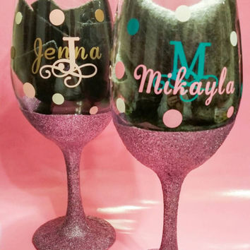 Wine glass, personalized barware initial name Monogrammed glitter dipped wine glass, glitter goblet by Vineontheporch on etsy