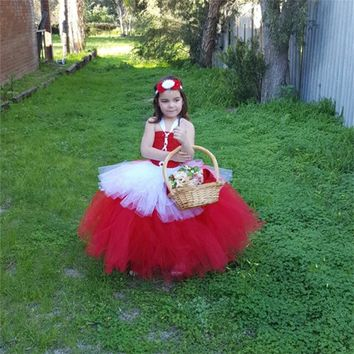 New design party dresses for little girls children spring clothing tutu style little red riding hood costume kids