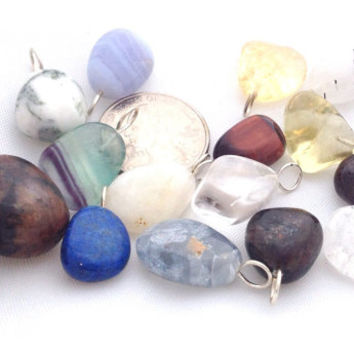 Lot of 15 Gemstone Pendants / Assorted Polished Tumbled Stone Pendants / Jewelry Making Supply / Crystal Healing / Craft / Necklace Piece