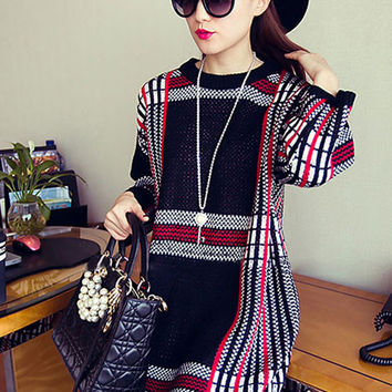 Half Sleeve Printed Sweater Mini Dress