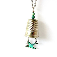 Thimble Necklace Vintage Wire Wrapped Bird Charm Turquoise Stone beads Jewelry at Hendywood
