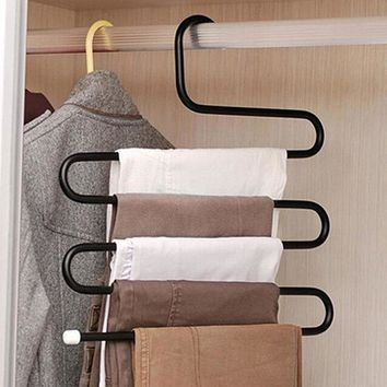 S Shape Hangers Pants Multi-role Magic Pants Wearing Clothes Rack Multilayer