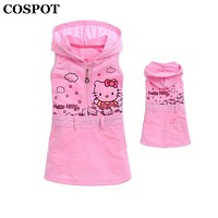 COSPOT 2018 New Girls Hello Kitty Dress Baby Girl Sleeveless Sundress Girl's Cute Hooded Dresses Kids Summer Cotton Dress 35E