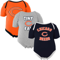 Chicago Bears Newborn 3-Pack Tiny Fan Creepers - Navy Blue/Orange/Ash - http://www.shareasale.com/m-pr.cfm?merchantID=7124&userID=1042934&productID=528460422 / Chicago Bears