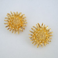 Premier Designs Floral Nugget Clip On Earrings Goldtone Jewelry
