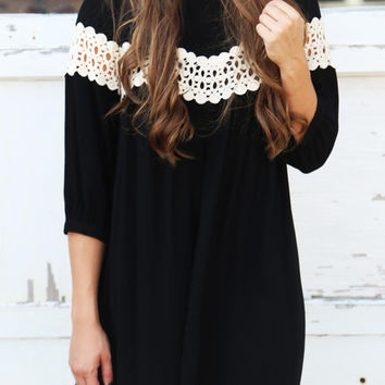 Black Crochet Lace Panel Keyhole Back Dress