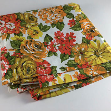 Vintage Fabric Scrap By The Yard Orange Green Yellow Flower Pattern Floral Quilting Sewing Scrapbooking Crafts 1960's 1970's Mod 2 1/2 Yards