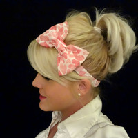 Pink heart chiffon bow stretch headband pinup/feminine/kawaii