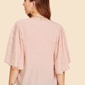 Pearl Beading Bell Sleeve Kimono without Bralette