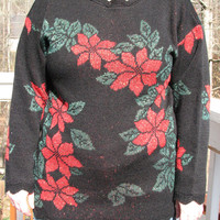 poinsettia, christmas, christmas sweater, tacky christmas sweater, tacky sweater, holiday sweater, black sweater, unique sweater, kawaii