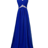Chiffon Royal Blue Beaded Long Prom Evening Dresses