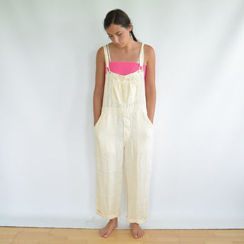 Yellow Linen Overalls Boston Proper for Joseph Perfect like New Condition Size Medium Relaxed Fit 90's Era