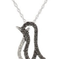 14k White Gold Black and White Diamond Penguin Pendant Necklace (.15cttw)