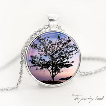 Mystic tree necklace tree pendant mystic tree jewelry sunset tree black tree pendant mystic jewelry tree pendant