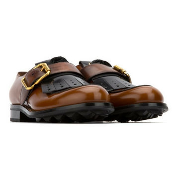 PRADA brown leather monk strap shoes