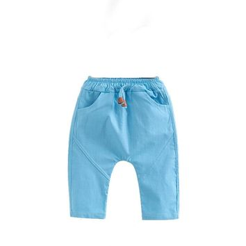3-7 Year Toddler Kids pants for Boy Girl Trousers Baby Children Summer Trousers Harem Pants Solid linen Calf-length pants