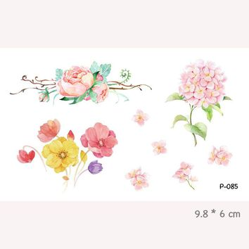 Wyuen Watercolor Flower Waterproof Temporary Tattoo Stickers for Adults Kids Body Art  Fake Tatoo for Women Men Tattoos P-085