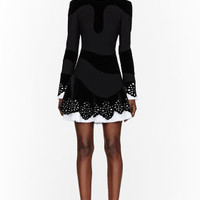 Alexander McQueen Black Velvet Laser-cut Lace Dress for women | SSENSE