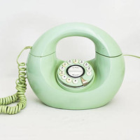 Vintage Mint Green Donut Phone, Push Button Round Circle Handbag Telephone, Polyconcept Phone, Mod Decor