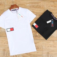 """""""Tommy Hilfiger"""" Unisex Casual Classic Embossed Letter Couple Short Sleeve T-shirt Top Tee"""