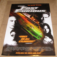 The Fast and the Furious Movie Poster 27x40 Used Rare Johnny Strong, Reggie Lee, Peter Navy Tuiasosopo, Vyto Ruginis, Adam Carrera, Chic Daniel, Rob Cohen, Paul Walker, Beau Holden, F Valentino Morales, Vin Diesel, Ja Rule, David Douglas, Ted Levine