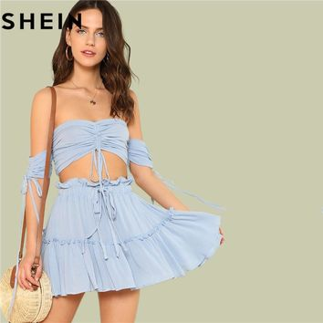SHEIN Summer Outfits for Women Two Pieces Set Boho Beach Vacation Drawstring Crop Bardot Tops and Drawstring Tiered Skirt Sets