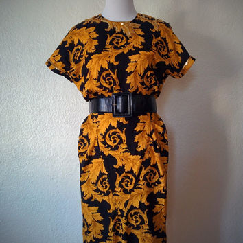 Vintage 80's Scroll Design Dress Black and Gold with Sequin Detailing