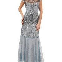 UK10 US6 AUS10 Grey Blue Vintage inspired 1920s Flapper Gatsby Charleston Downton Abbey Sequin Wedding Formal Prom Maxi Dress New Hand Made