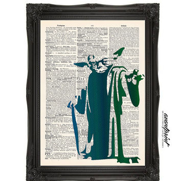 There Is No Try Yoda Star Wars Stencil Original Print on an Unframed Upcycled Bookpage