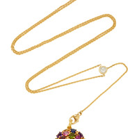 """One-Of-A-Kind Gold White Diamond """"Shake"""" Necklace With Antique Mixed Jewel Back On Y Chain 