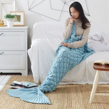 Cover Mermaid Blanket Plaid Knitted Plaids Bed Cover Mermaid's Tail Blanket Knit Crochet Sleeping Bag Warm 11%