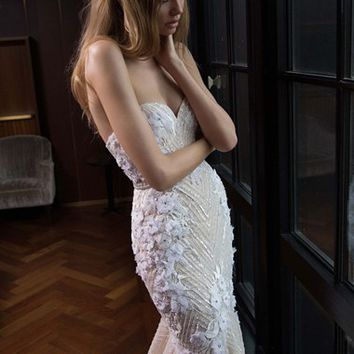 Berta Embellished Lace Mermaid Gown (In Stores Only) | Nordstrom
