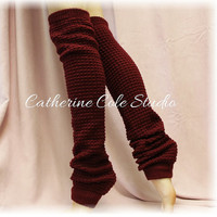 DANCE CRUSH Burgundy Leg warmers knit legwarmers dance yoga pilates ballet leggings knit leg warmers popcorn knit Catherine Cole Studio LW02