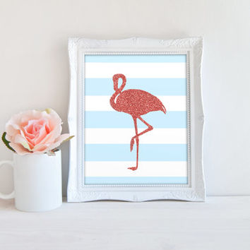 Flamingo Pink Glitter Blue and White Stripes Printable Sign, Animal Digital Wall Art Template, Instant Download, Customizeable 8x10