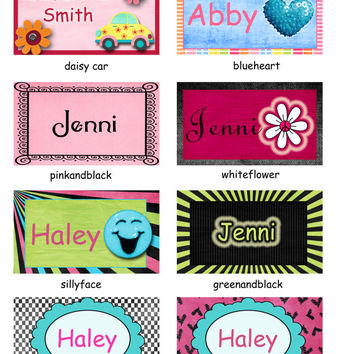 cupcake, owl, girl, happy face backpack tags, lunchbox tags , luggage tags  & sport bag tags